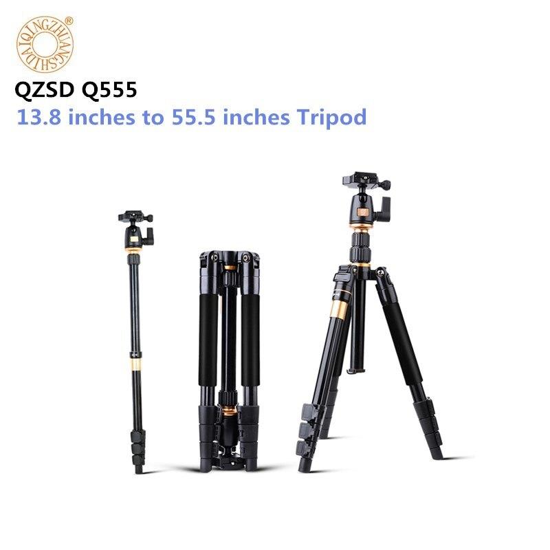 Monopode professionnel extensible de trépied de vidéo d'appareil-photo d'alliage d'aluminium de QZSD Q555 55.5 pouces avec le support rapide de plat de libération