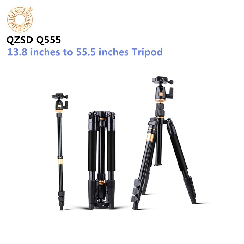Professional Extendable QZSD Q555 55.5 Inches Aluminium Alloy Camera Video Tripod Monopod With Quick Release Plate Stand bt 158 aluminium alloy 1460mm camera video monopod professional extendable tripod slr dslr holder stand with carry bag