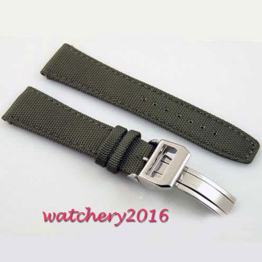 22mm vert olive boucle déployante Bracelet fit parnis montre