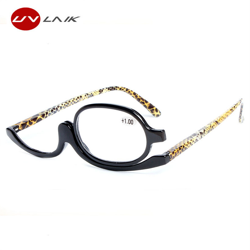UVLAIK 180 Degree Rotating Monocular Women Cosmetics Glasses Makeup Reading Glasses Diopter Glasses +1.0 +1.5+2.0+2.5+3.0