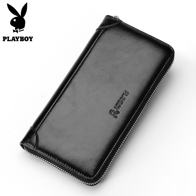 Playboy Luxury Men Long Wallets Casual Leather Hand Bag Male Card holder Organizer Clutch Zipper Money Purses Man Gift Bag new arrival leather wallets men brand business long purses money bag credit card holder 2017 new zipper phone clutch wallet male