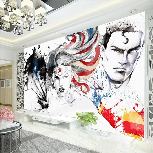 Online shop wonder woman wallpaper batman 3d wall mural for Batman mural wallpaper
