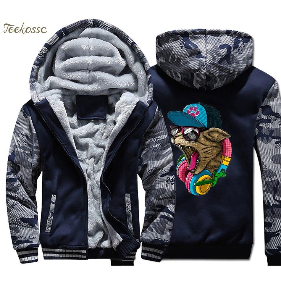 DJ Cat Hoodie Men Musci Hip Hop Hooded Sweatshirt Coat 2018 Winter Warm Fleece Thick Punk Rock Jacket Men's Kpop Streetwear 4XL