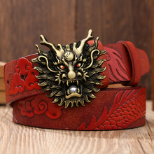 New Fashion Casual Mens Leather Belt Top Quality Dragon Buckle Cow Male Strap Smooth Retro Dress For Men
