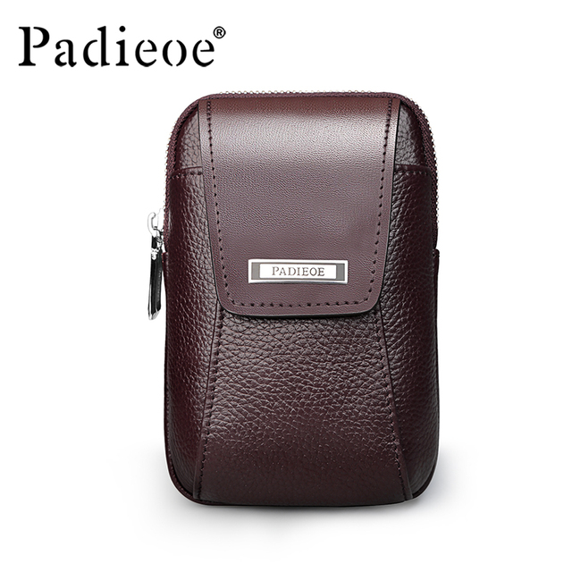 Padieoe Men's Genuine Leather Waist Pack Designer High Quality Waist Bags Vintage Belt Loop Pouch Travel Retro Fanny Bag Male