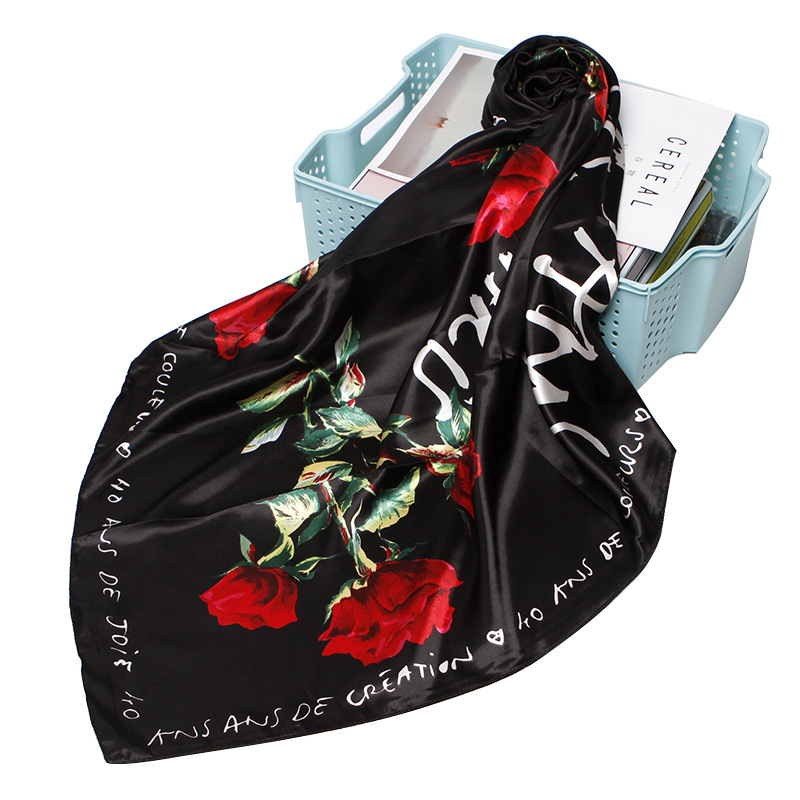 Rose Flower Print Scarf Women Fashion Luxury Hijab Shawl Wraps Black Floral Soft Headband Handkerchief Accessories 90*90cm