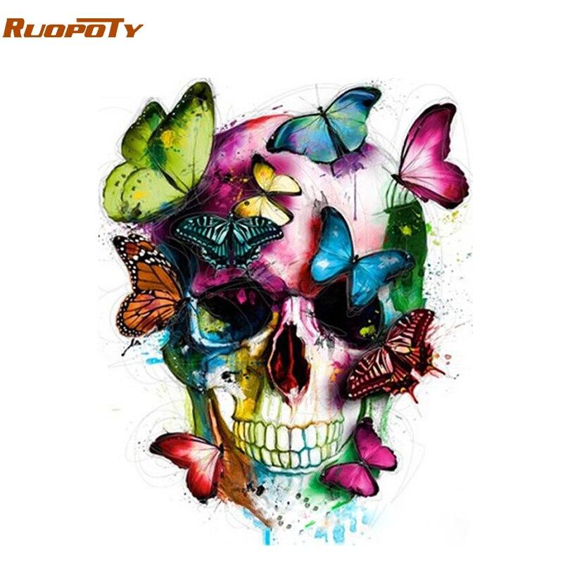 RUOPOTY Rahmen Abstrakte Schmetterling DIY Malen Nach Zahlen Acrylfarbe auf Leinwand Moderne Wandkunst Dekor Malen Nach Zahlen Für hause