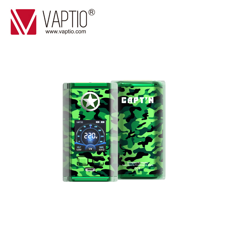 Vape E Cigarette MOD 220W Vaptio CAPTAIN Box Mod Vape For 510 Thread Atomizer Fitted 18650 Battery External