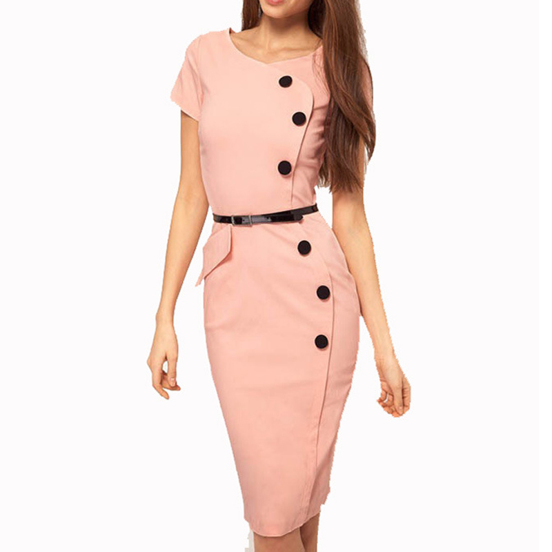 Women Slim Casual Work Office Business Dresses Party Bodycon Pencil Dress Ladies Office Wear Outfits Plus Size Dress Y229 ...