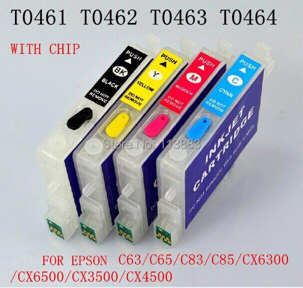 T0461- T0474 Refillable ink cartridge for EPSON STYLUS C63/C65/C83/C85/CX6300/CX6500/CX3500/CX4500 Printers Auto reset chip