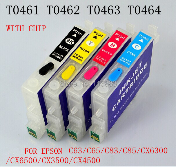 T0461- T0474 Refillable ink cartridge for EPSON STYLUS C63/C65/C83/C85/CX6300/CX6500/CX3500/CX4500 Printers Auto reset chip