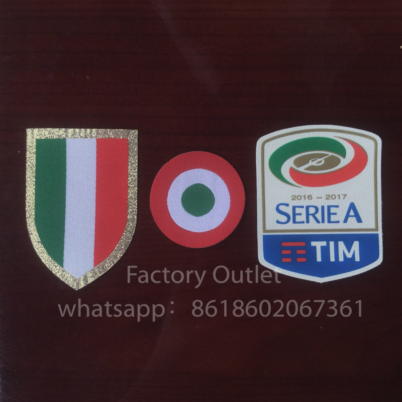 2016 2017 Italia Calcio patch Silicone Serie A patch red coppa Italia Circle Scudetto patch Scudetto + Italy Cup patches image