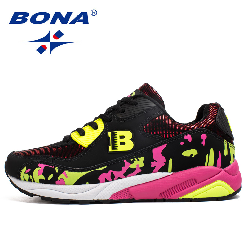 BONA New Classics Style Women Running Shoes Lace Up Sport Shoes Outdoor Activities Sneakers Comfortable Athletic Shoes For Women peak sport men outdoor bas basketball shoes medium cut breathable comfortable revolve tech sneakers athletic training boots
