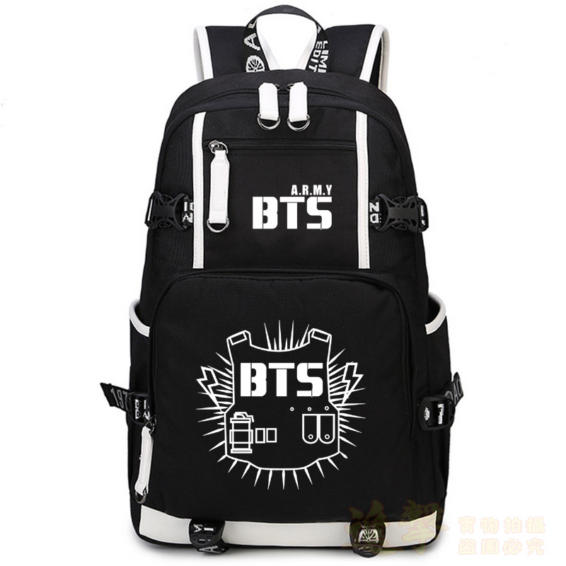 High Quality 2017 New Fashion Bts Printing Women Backpack Canvas School Bags For Teenage Girls Laptop Back Pack Mochila Feminina
