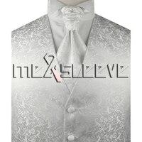 Hot Sale Free Shipping Woven Polyester White Fabric Waistcoat Vest Ascot Tie Handkerchief Cufflinks