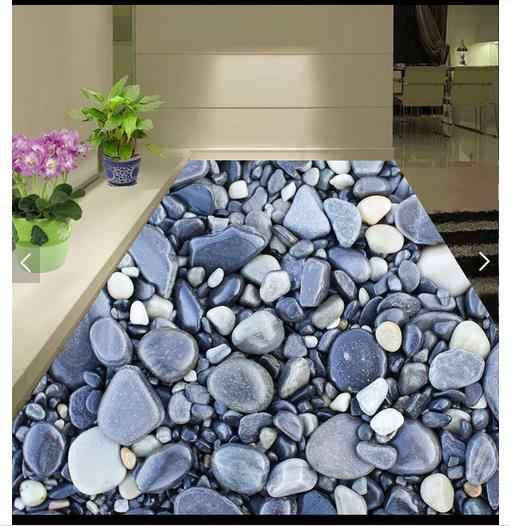 Papier peint photo personnalisé 3d revêtement de sol peinture papier peint le sol de la salle de bain 3 d art pierre galets papiers muraux pour salon