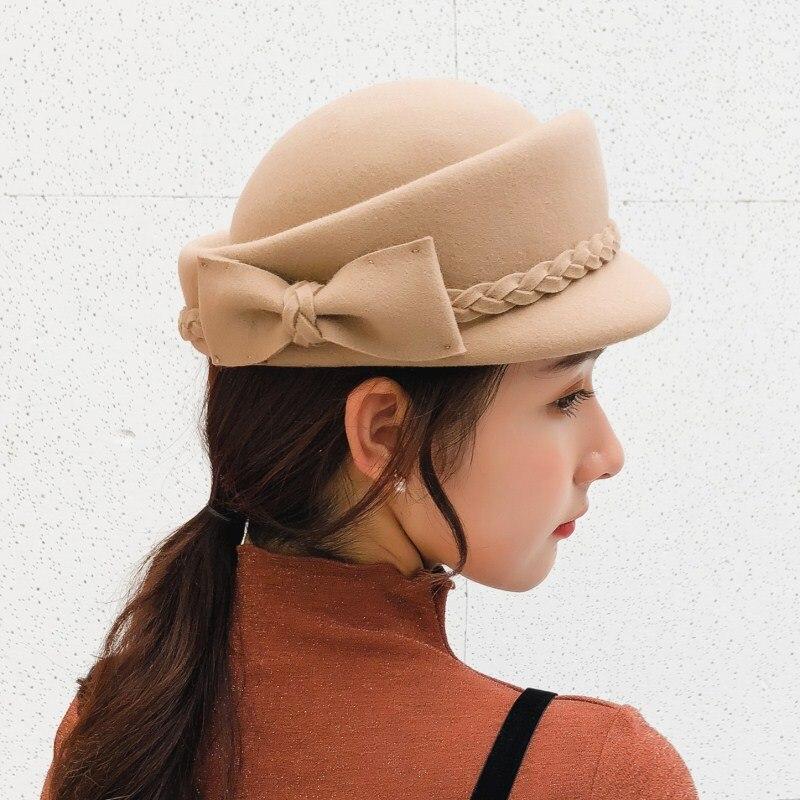 Seioum 100% wool beret winter berets women winter felt beret Bow W