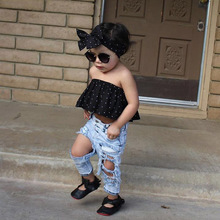 Toddler Girls Ankle Length Pants Tie Dye Kids Hole Trousers Vintage Ripped Fashion Summer Baby Girls