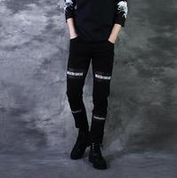 Outono perspectivity impressão do punk calças magros dos homens calça casual calças slim calças cone macho preto pantalon hombre novidade