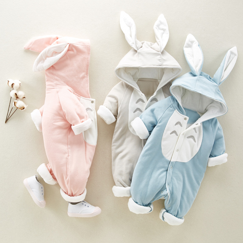 New Spring Autumn Baby Rompers Cute Cartoon Rabbit or Totoro Infant Girl Boy Jumpers Kids Baby Outfits Clothes