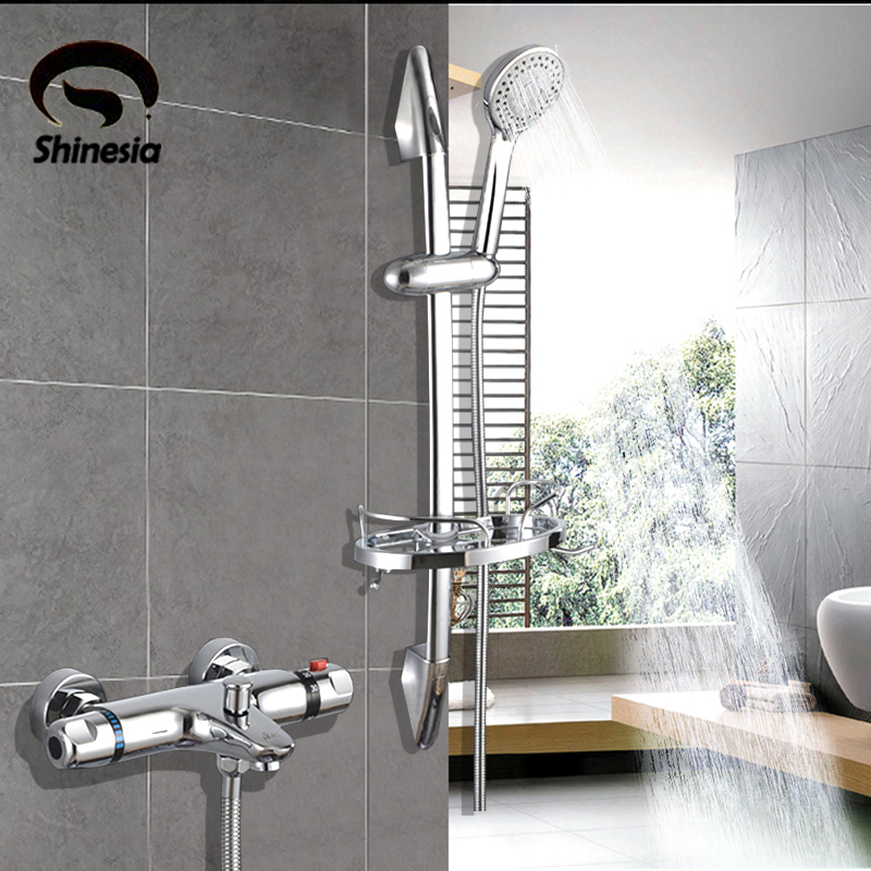 NEW Shower Faucet Set Bathroom Thermostatic Faucet Chrome Finish Mixer Tap W/ ABS Handheld Lifting rod rack Shower Wall Mounted new shower faucet set bathroom thermostatic faucet chrome finish mixer tap handheld shower wall mounted faucets
