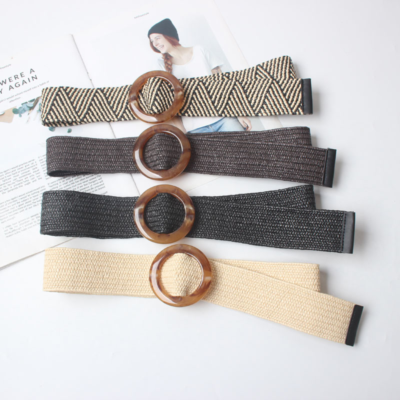 Wax Rope Braiding women belt Round Buckle Skirt Belt Woman's Vintage Knitted Waist Belt Woven Female Elastic Braided Belt black