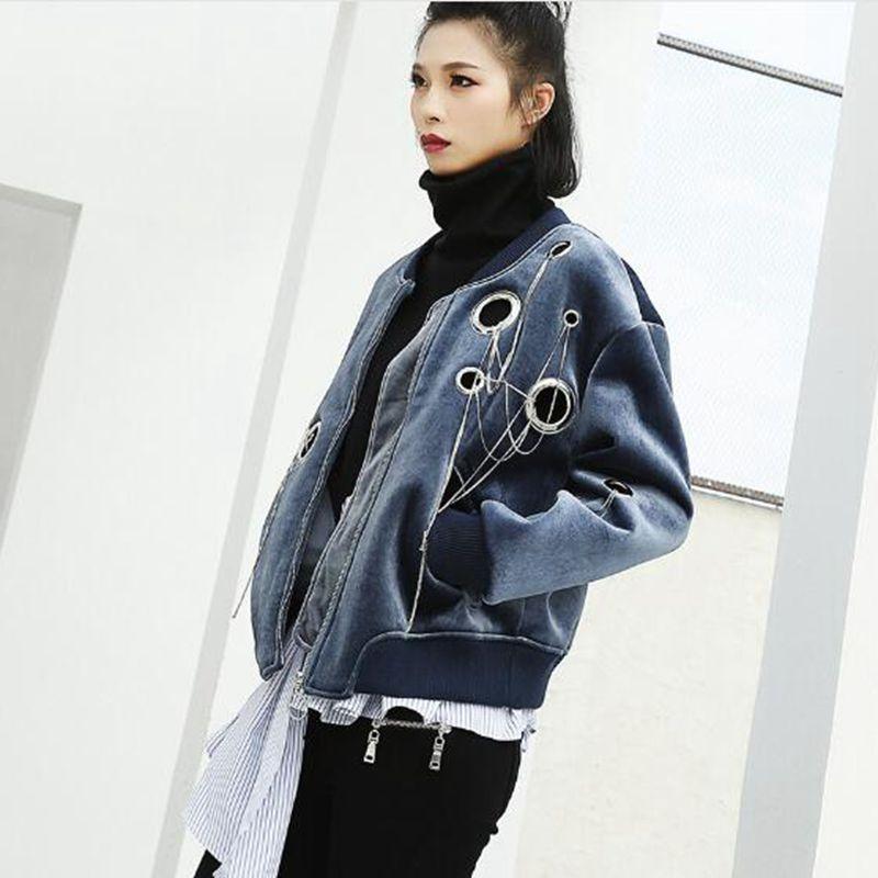 2018 Harajuku Bomber Femmes Évider Manteau Punk Vintage Velours Outwear Oeillet Hiphop Tasell Gland Printemps Lt472 Veste Rock xqwfXBHp