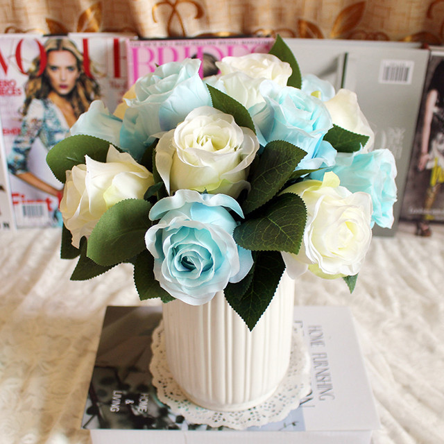 1 Bunch Artificial Flowers Blue Rose Silk Flower Bouquet For Home ...