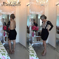 New Black Lace Short Cocktail Dresses Long Sleeve Robe De Cocktail Appliques Beaded See Though Sexy Sheer Back Cocktail Dresses
