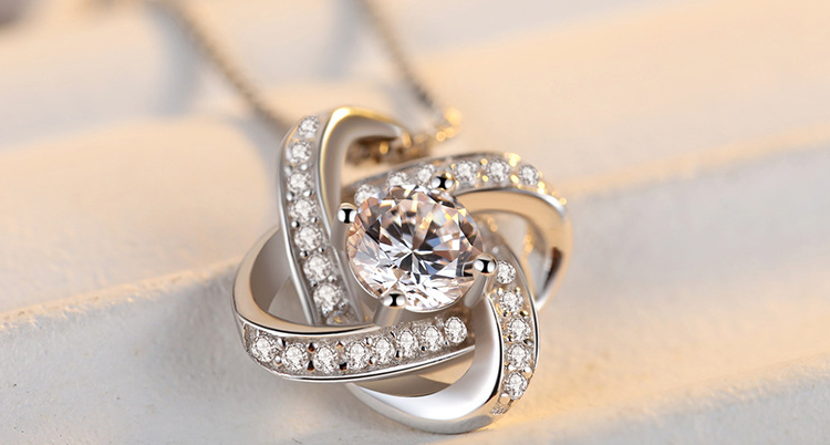 DIEERLAN 19 Bridal Jewelry Sets 925 Sterling Silver Crystal Cross Clover Flower Necklaces for Women Wedding Jewelry Bijoux 4