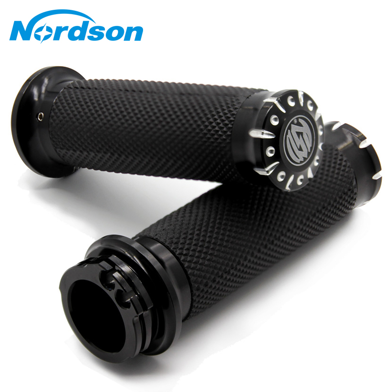 Nordson 25MM Motorcycle Handlebar Grips CNC Handle Bar Grips For Harley Sportster Cruiser Bobber Chopper Custom