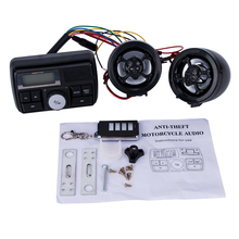 Waterproof Radio for Motorcycle Audio FM TF MP3 USB/SD Handle Bar Stereo 2 Speakers Car Sound System Alarm Motorbike Anti-Theft(China)