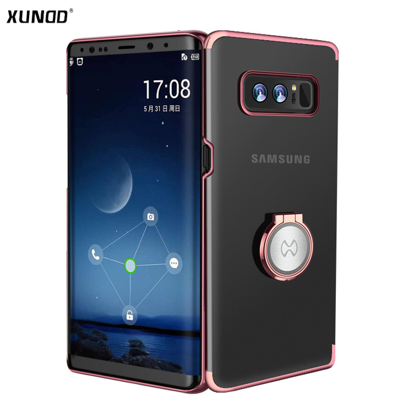 newest 93a62 751e6 US $10.13 29% OFF|Xundd Luxury Clear Case for Samsung Galaxy Note 8 Hard PC  case for galaxy Note 8 with Ring holder fit for Magnetic Car Holder -in ...
