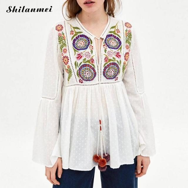 29da3802802 2018 Spring Summer Cotton Blouse Women Shirt Vintage Floral Embroidery White  Tops Ladies Long Sleeve Pom Pom Hollow Lace Blusa