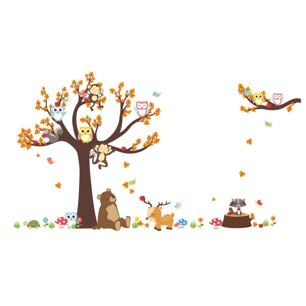 Owls Jungle Animals Wooden Bedroom Furniture Kids: New Jungle Forest Tree Animal Owl Monkey Bear Deer Wall