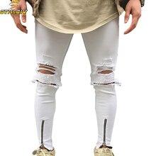 HIP-HOP Men Jeans Stretch Destroyed Ripped Folds Дизайн Модная лодыжка Застежка -молния Тощий байкер Джинсы для мужчин Брюки-штаны плюс размер