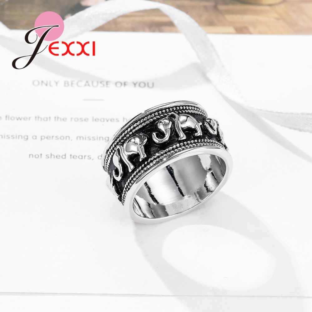 בציר שחור ולבן 925 סטרלינג תכשיטי כסף פשוט סגנון פיל צורת אירוסין טבעות לגברים נשים אדון חתונה