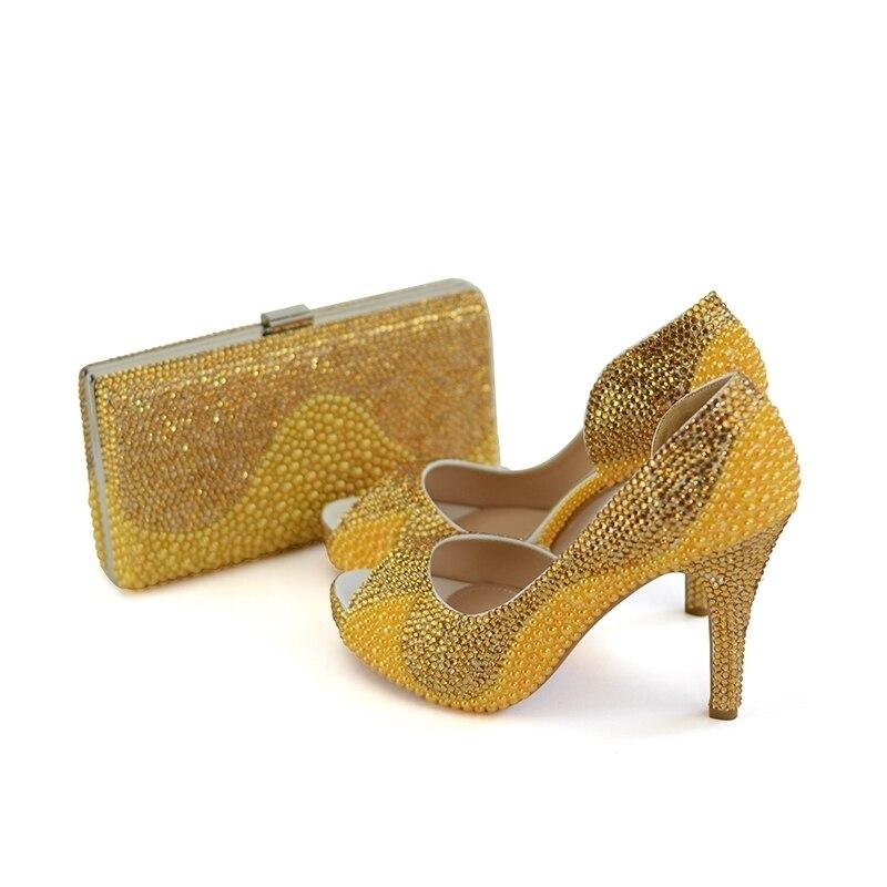 Plataforma Alto Pulgadas La Peep Bag Toe 10cm 8cm Con Rhinestone 4 Bolsa  Oro Y Embrague Perla Novia Gold Talón Del Zapatos ... 655dfa9c028a