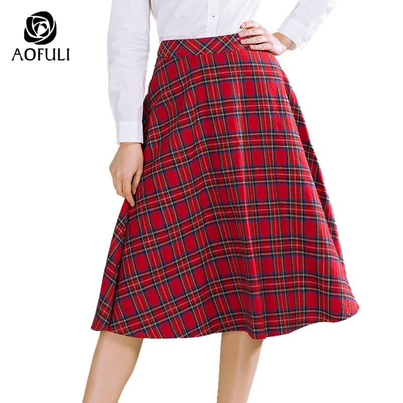 AOFULI M Xxxl 4xl 5xl Vintage England Style Plaid Skirt Mid calf Length Printed Skirt Spring