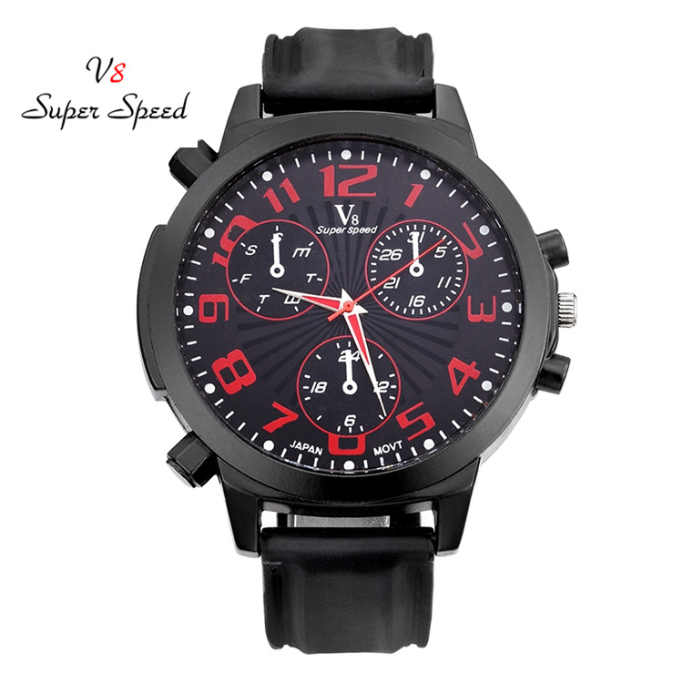 все цены на Top Brand Fashion Sport Big Watch Quartz Men Military Watches Silicone Man Wristwatch Army Male Clock relogio masculino Black в интернете