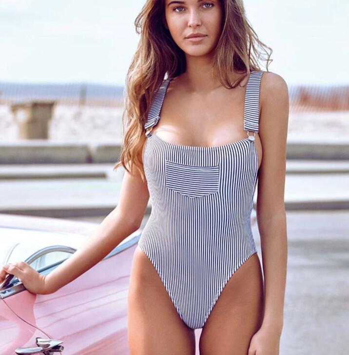 2017 Basic Bodysuit Sexy Striped Rompers Women Beachwear Bodycon Fitness Jumpsuit Sexy Bodysuit Overalls For Women