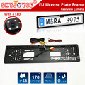 CCD auto backup rear view camera for EU Russia lada niva kalina 3D Emblem European license plate frame rearview camera light led