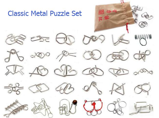 9/24/30PCS per Set IQ Metal Wire Puzzle Logic Mind Brain Teaser Magic Puzzles Game for Adults Children ...
