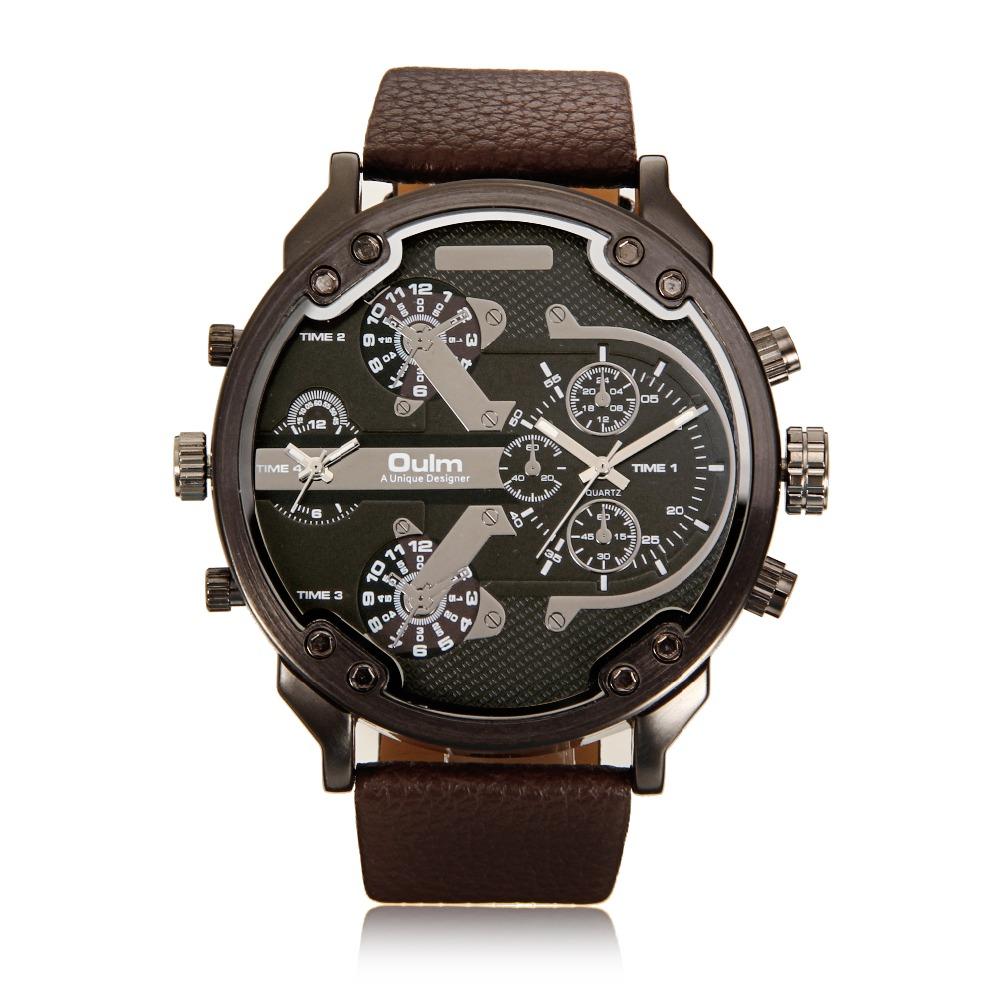 Prix pour Célèbre designer mens montres dual time zone quartz-montre oulm bracelet en cuir grand visage militaire quartz horloge relogio masculino