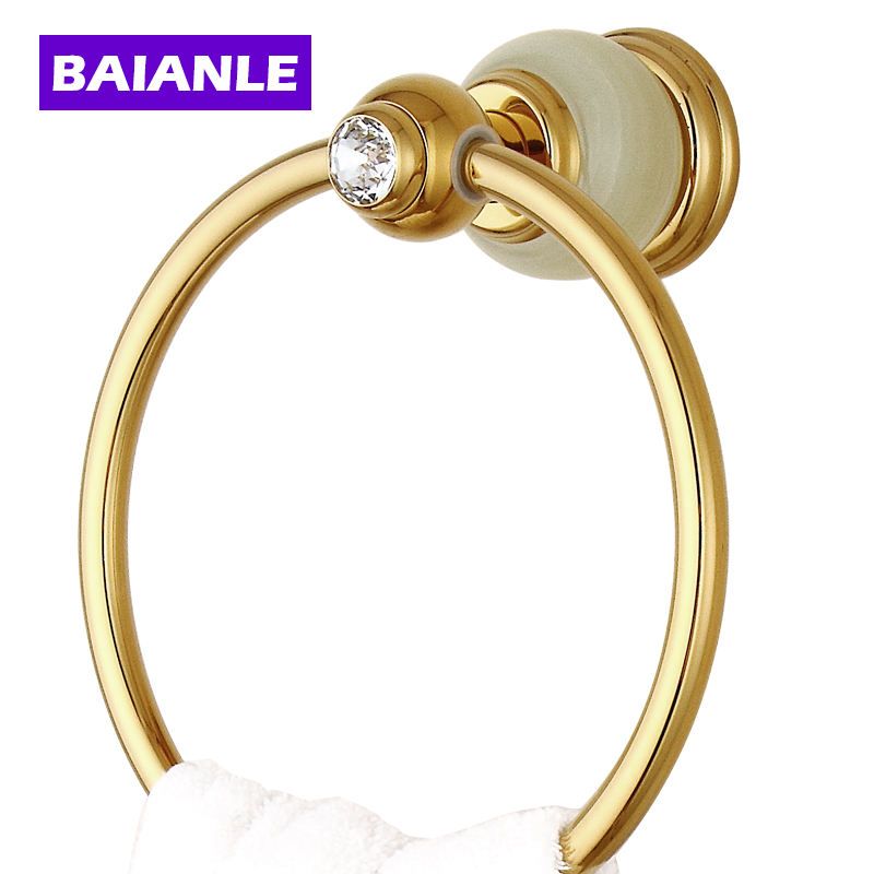 Free Shipping  Unique Design Jade Golden Towel Ring Wall Mounted Brass Bathroom Towel Rack the ivory white european super suction wall mounted gate unique smoke door