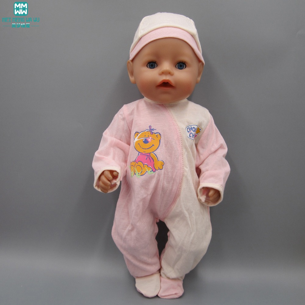 Clothes for dolls fits 43cm Baby Born zapf doll accessories pink Siamese Crawling Clothes + Hat promotion sale