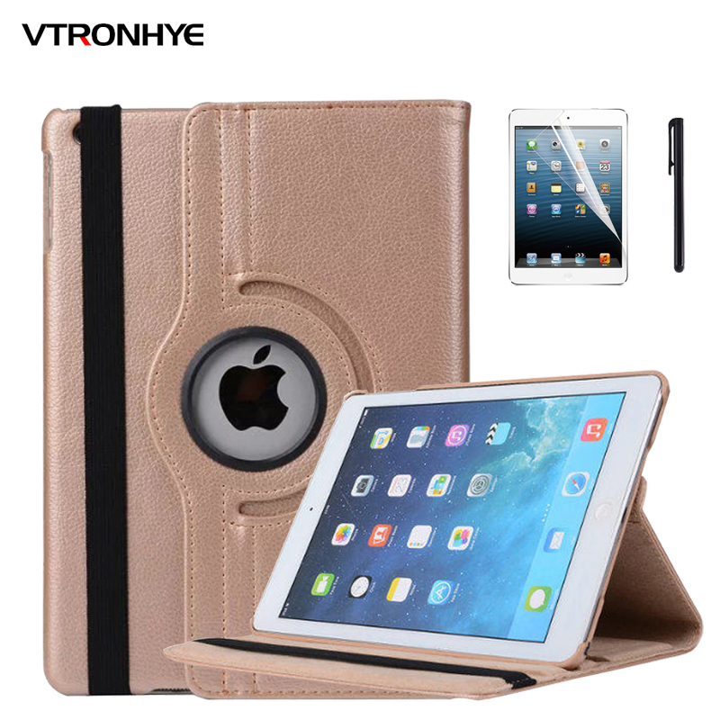VTRONHYE Case for iPad mini 1 2 3 Cover 360 Rotating Stand Flip Smart PU Leather Case Cover for iPad mini 1 2 3+Screen Film+Pen