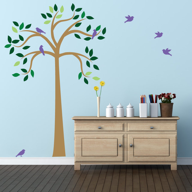Large Tree Wall Decal With Birds For Kids Baby Nursery Room Home Decor  Playroom Wall Art