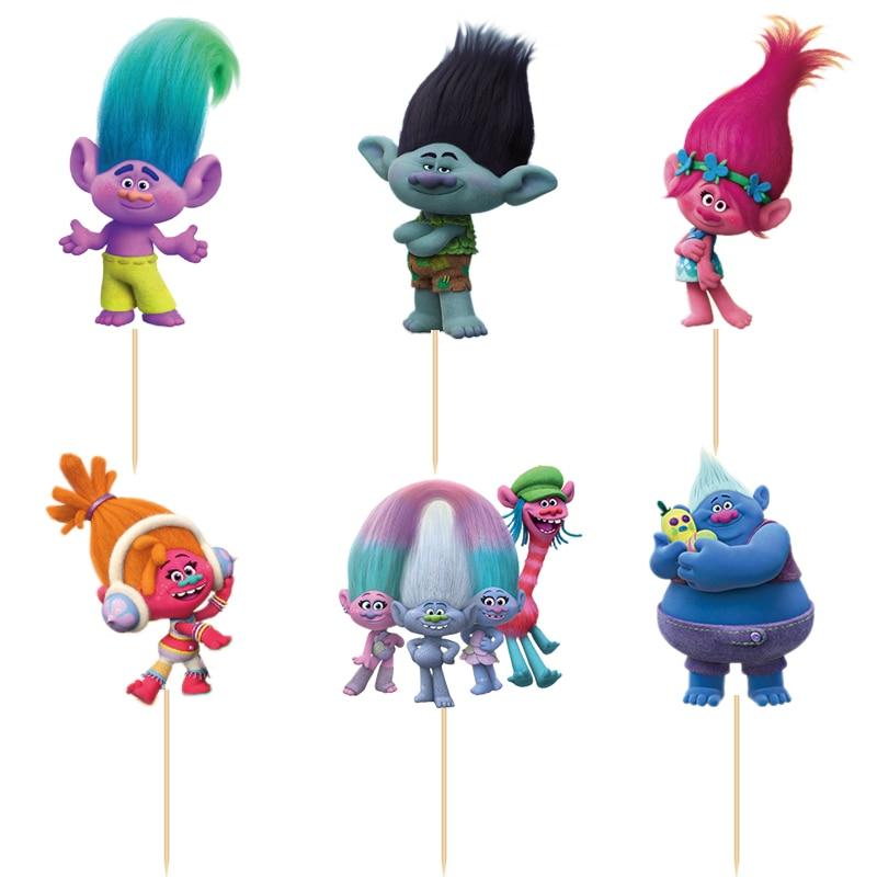 720pcs Cartoon Trolls Poppy Suki Guy Diamond Branch candy bar cupcake toppers pick baby shower kids