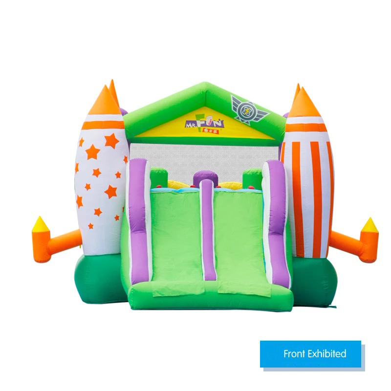 HTB1OmnRPFXXXXXVXpXXq6xXFXXXM - Mr. Fun Large Inflatable Rocket Trampoline Bounce House Castle For Kids with Double Slide Multi-function Playgound with Blower